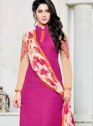 Pink Lace Jacquard Salwar Suit
