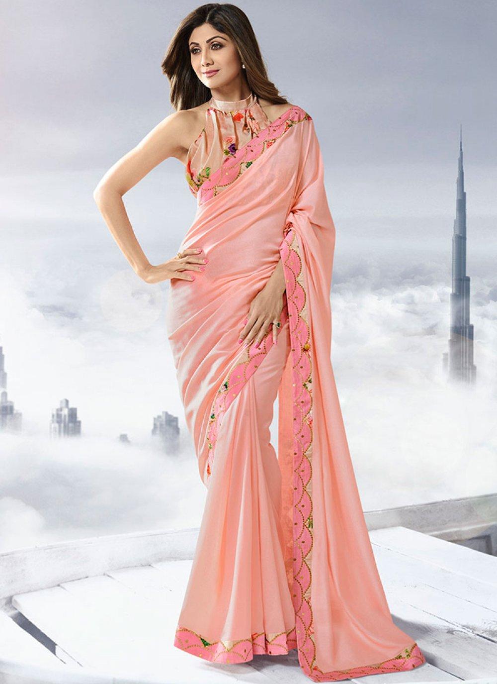 Pink Lace Satin Designer Traditional Saree
