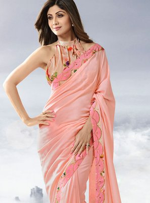 Pink Lace Satin Designer Traditional Saree