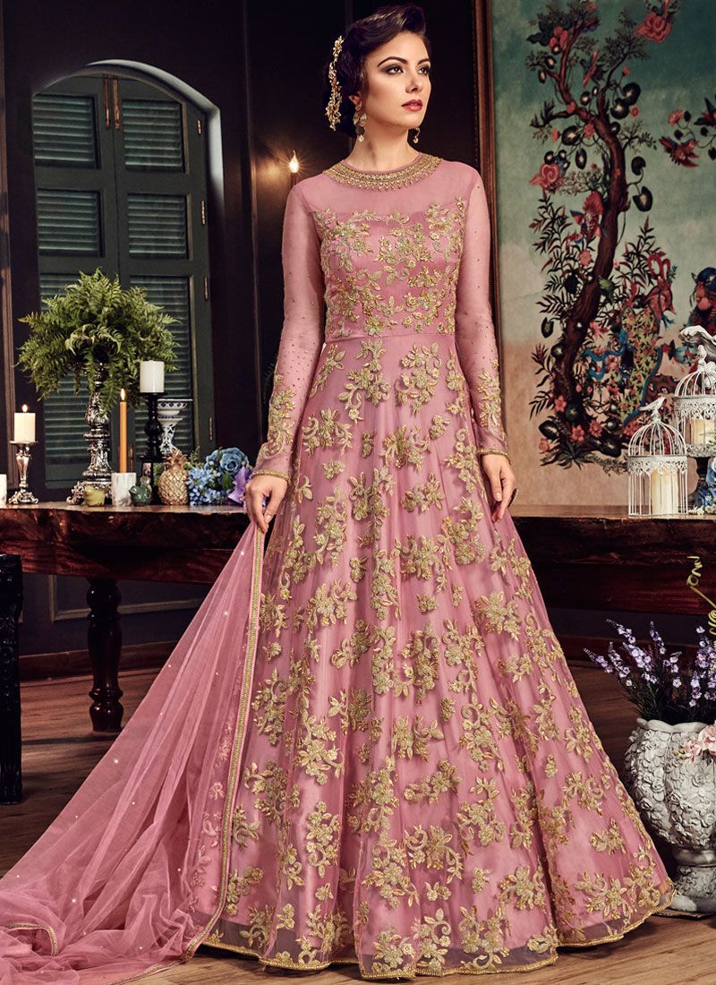 Pink Lace Wedding Floor Length Anarkali Suit