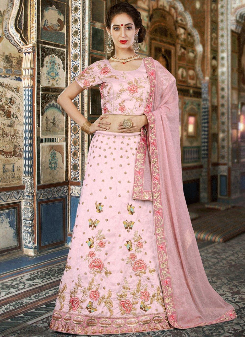 Pink Lace Work Art Silk Lehenga Choli