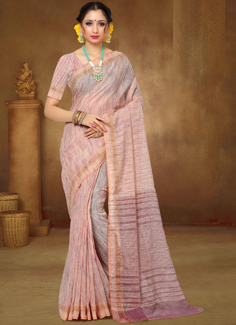 Pink Linen Classic Saree