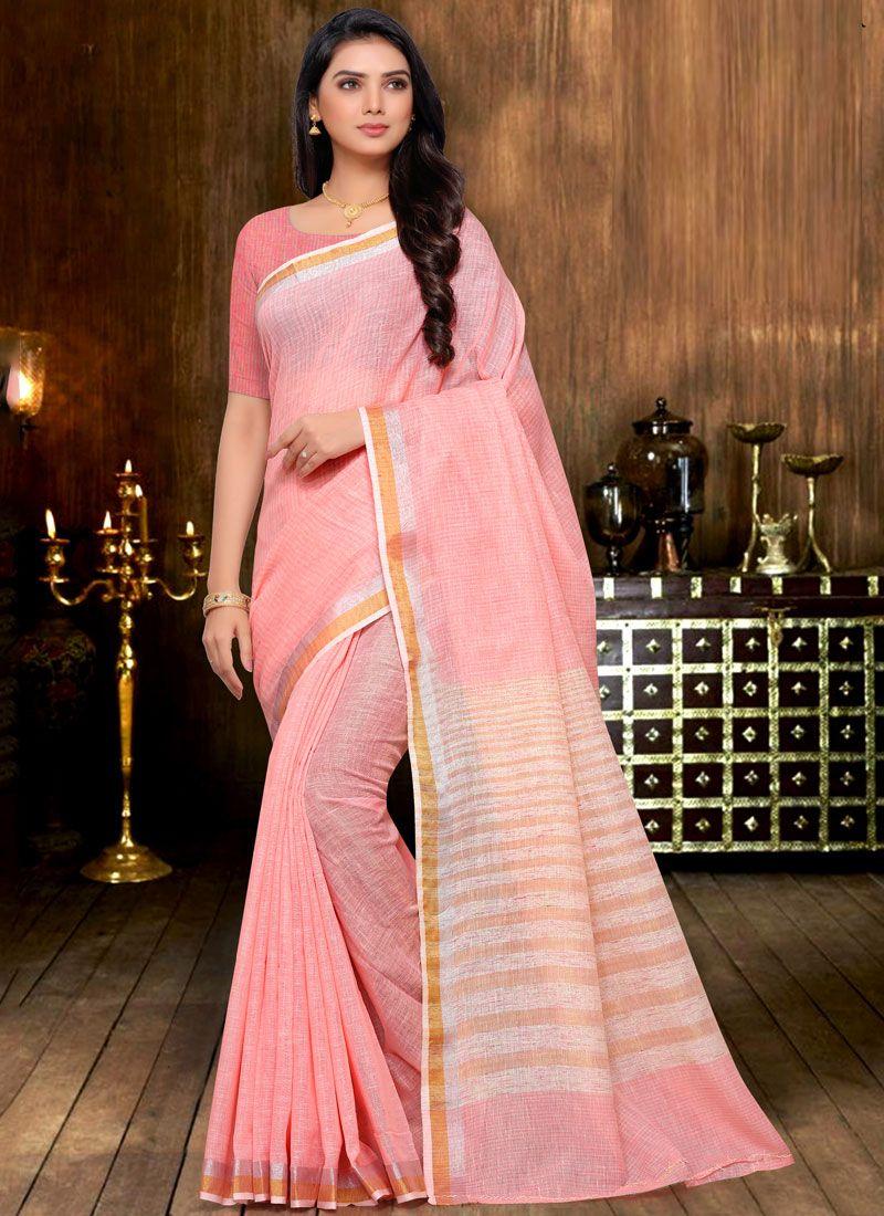 Pink Linen Print Saree