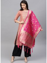 Pink Machine Embroidery  Designer Dupatta