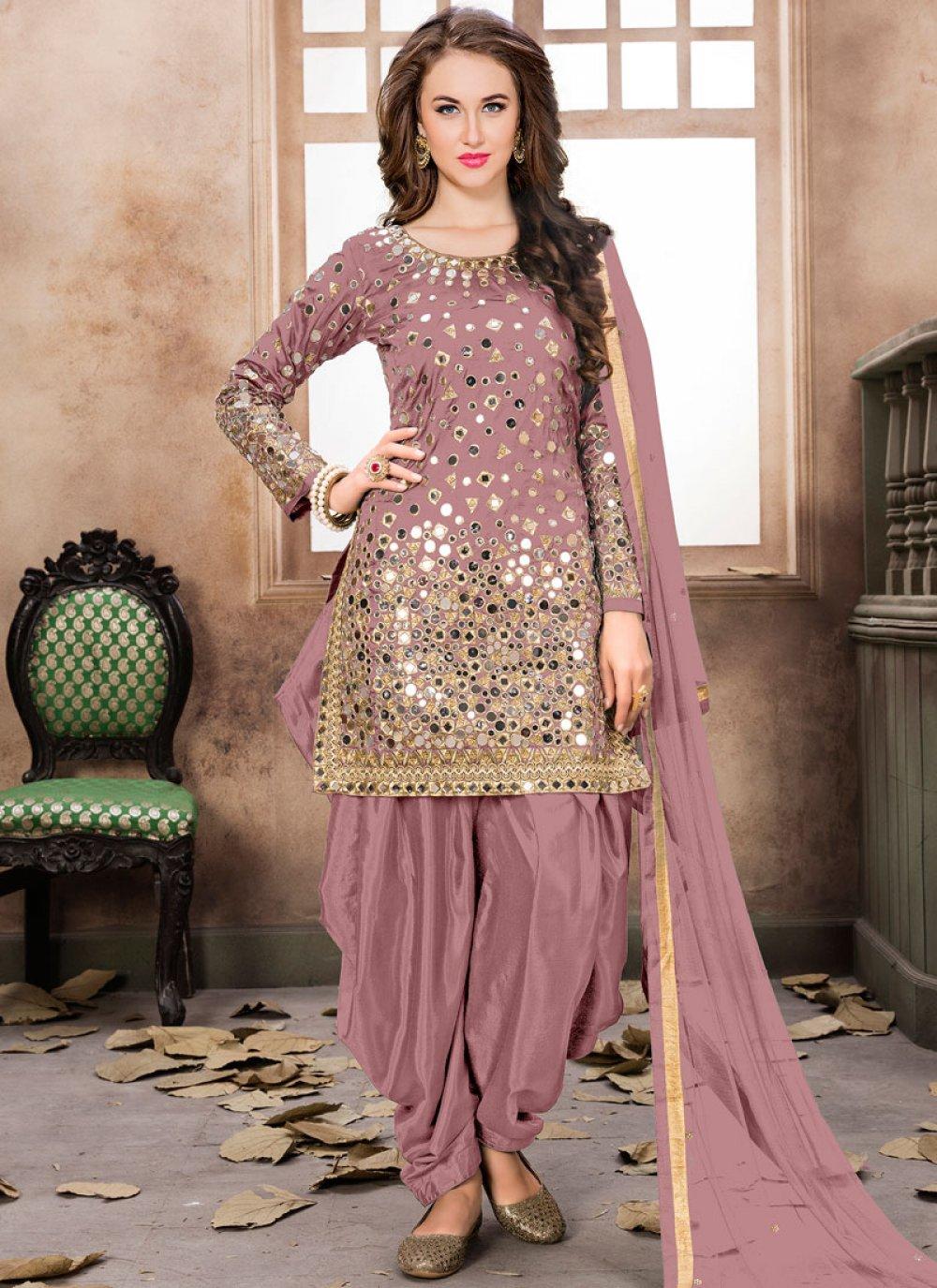 Pink Mirror Work Patiala Salwar Kameez