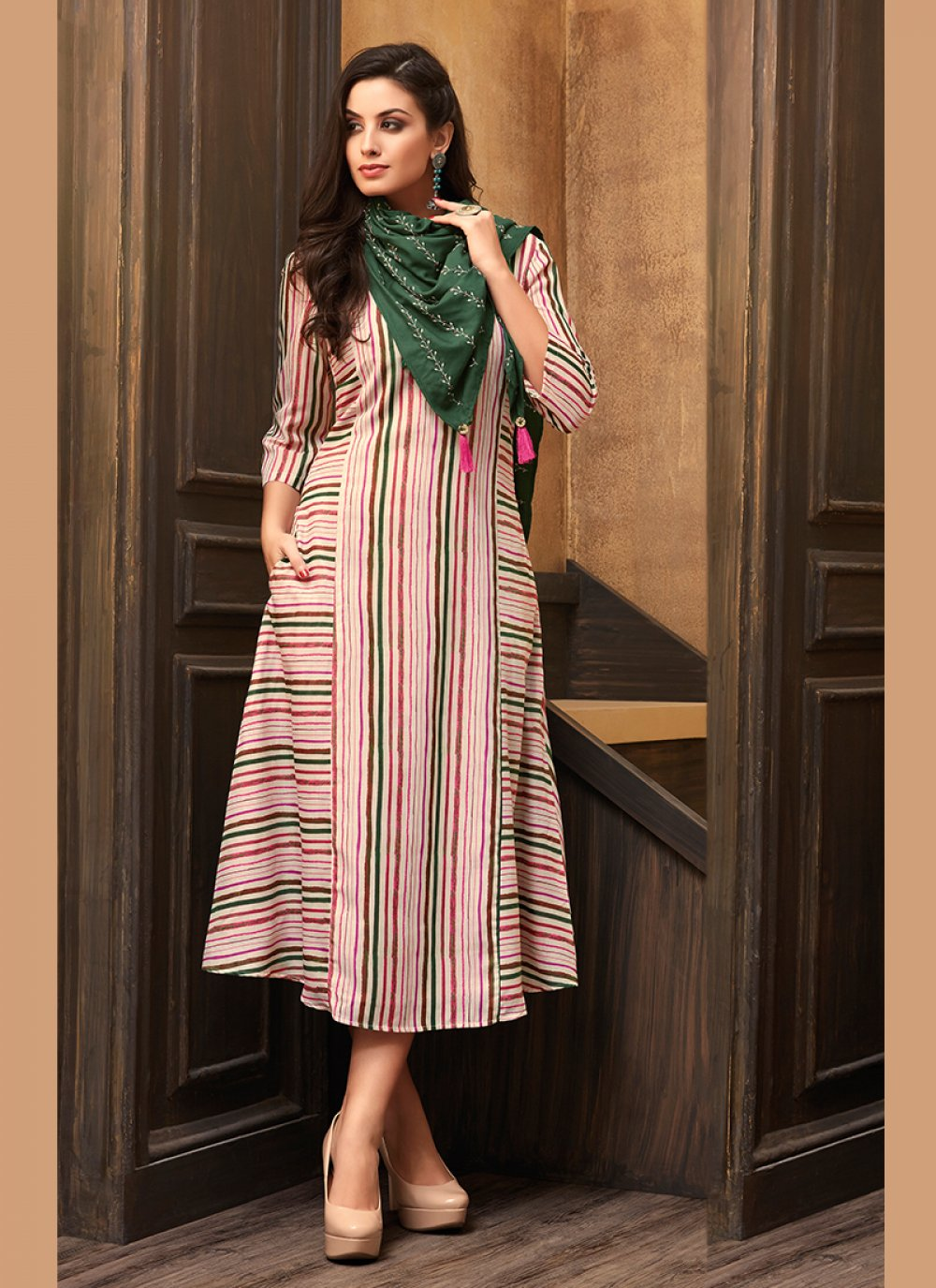 Pink Muslin Print Party Wear Kurti