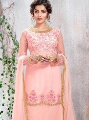 Pink Net Designer Salwar Kameez