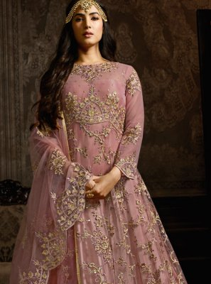 Pink Net Embroidered Anarkali Salwar Suit