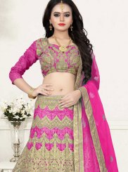 Pink Net Embroidered Designer Lehenga Choli