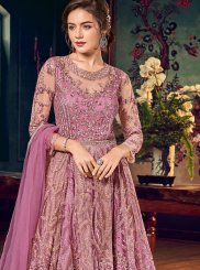 Pink Net Floor Length Anarkali Suit