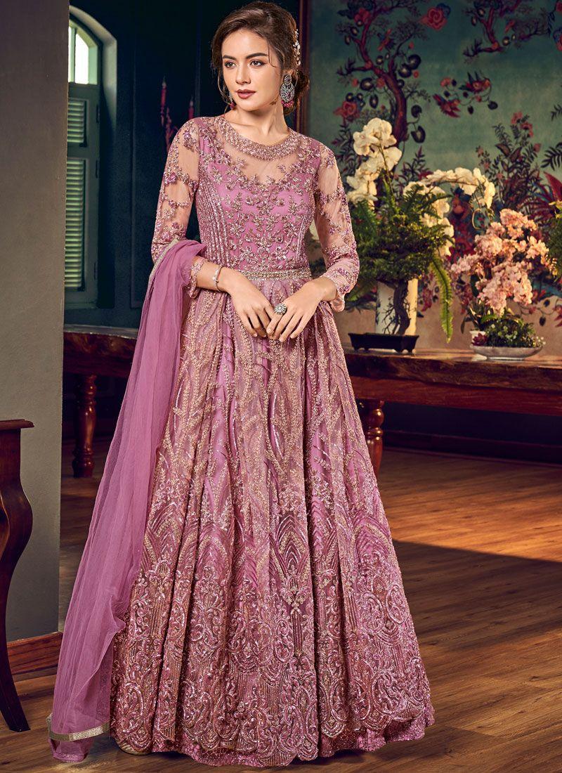 Pink Net Floor Length Anarkali Suit