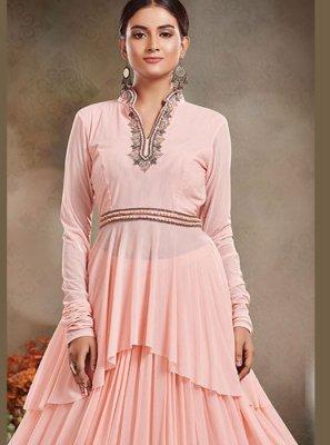 Pink Net Mehndi Designer Salwar Kameez