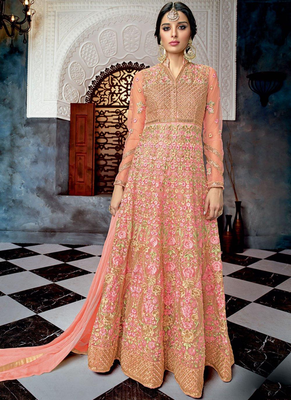 Pink Net Wedding Floor Length Anarkali Suit