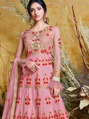 Pink Net Wedding Floor Length Anarkali Suit