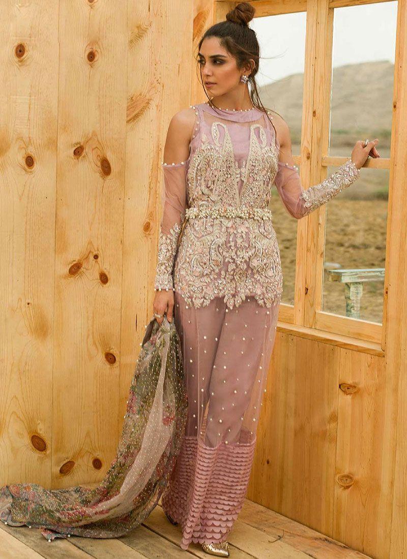 Pink Party Net Designer Suit