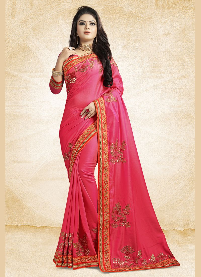 1a998412ab Buy Online Pink Party Satin Silk Saree : 103793 -