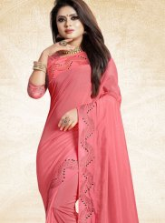Pink Patch Border Art Silk Traditional Saree