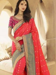 Pink Patch Border Designer Traditional Saree