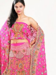 Pink Patch Border Faux Crepe Lehenga Choli