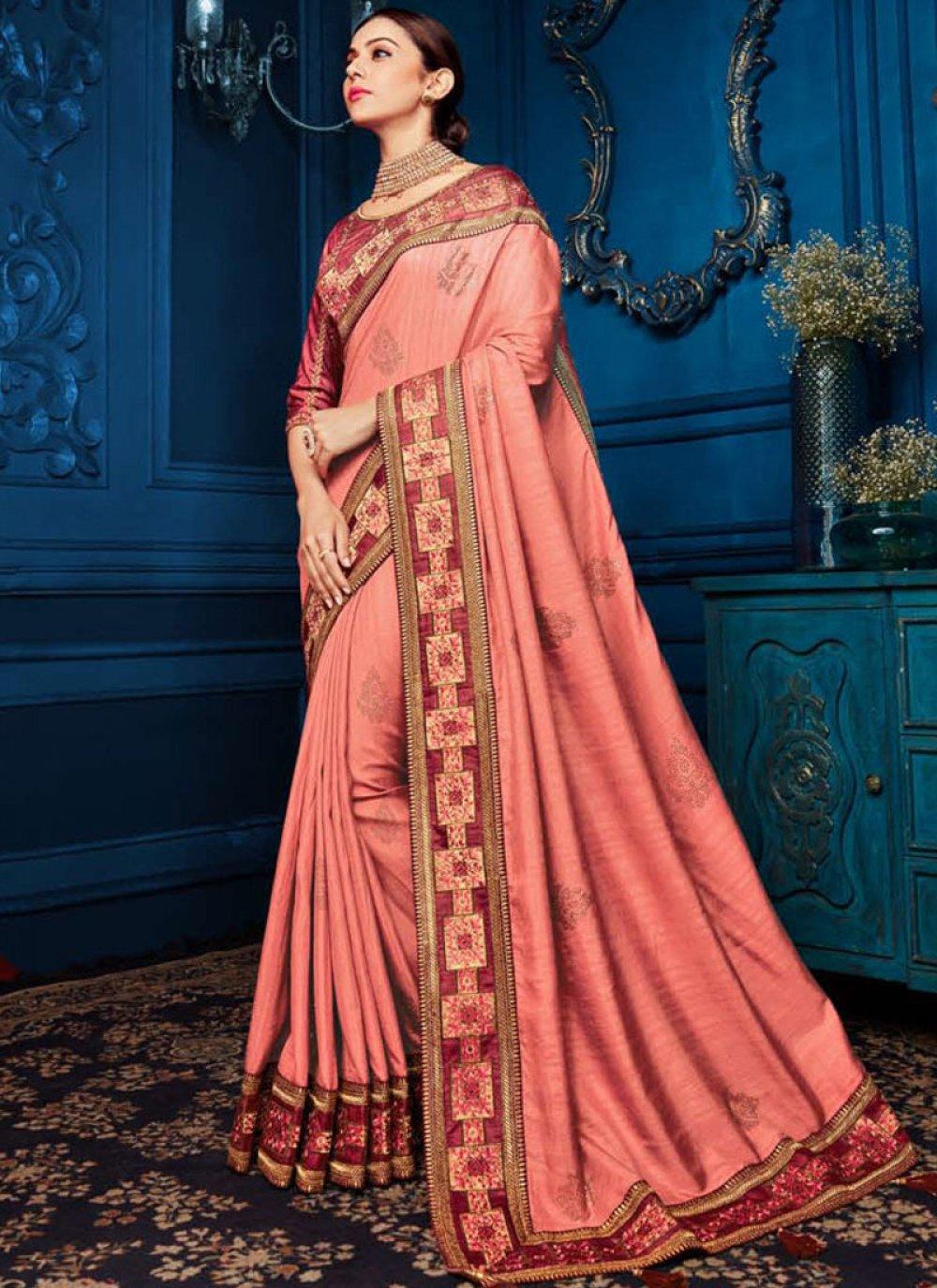 Pink Patch Border Georgette Satin Classic Saree