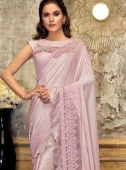 Pink Patch Border Lycra Designer Saree