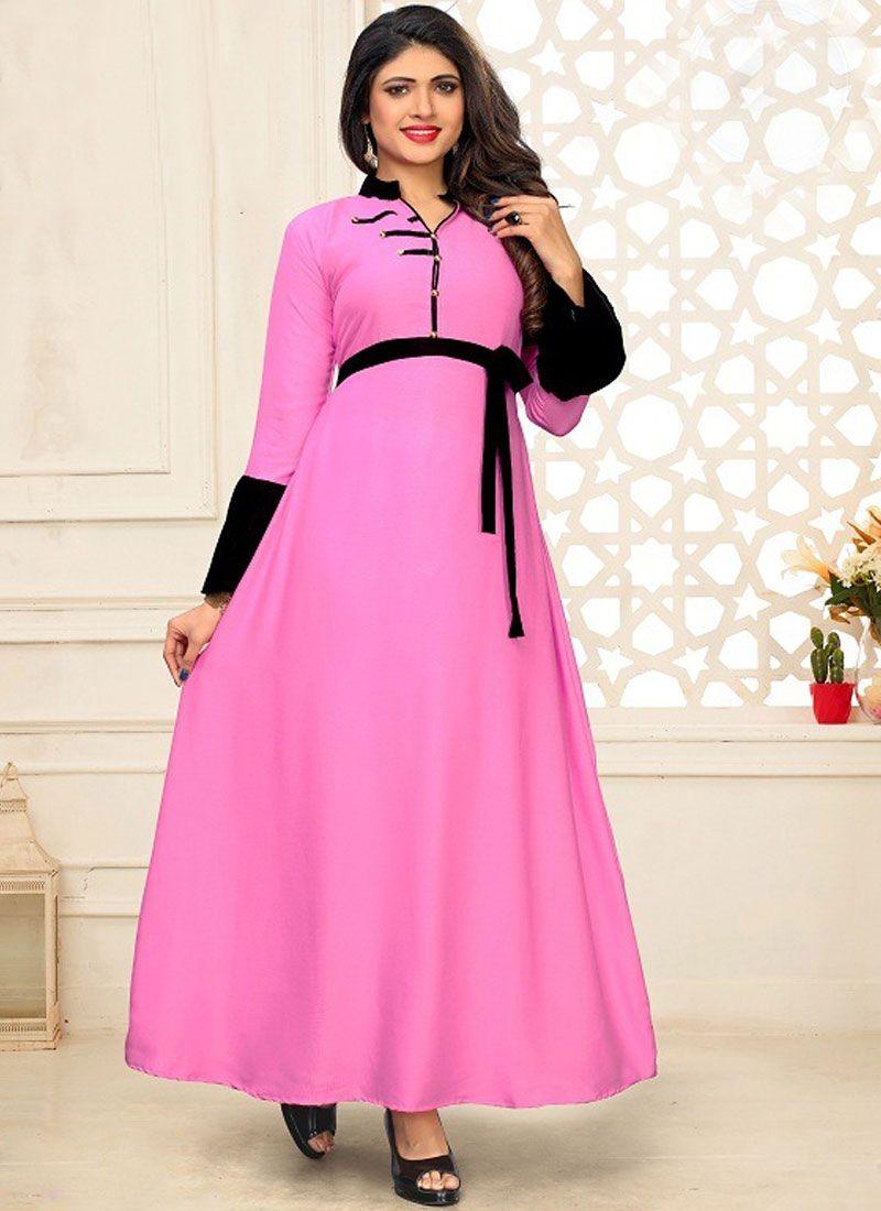 Pink Plain Designer Kurti