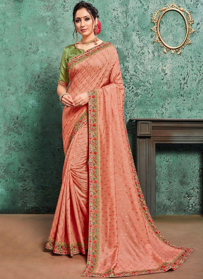 Pink Poly Silk Traditional Saree