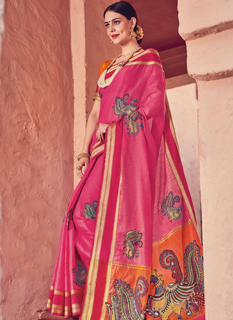 Pink Print Art Silk Designer Traditional Saree