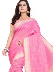 Pink Print Cotton Casual Saree