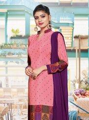 Pink Print Crepe Silk Churidar Suit