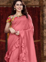 Pink Print Fancy Fabric Classic Saree