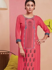 Pink Print Rayon Party Wear Kurti