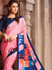 Pink Printed Faux Crepe Casual Saree