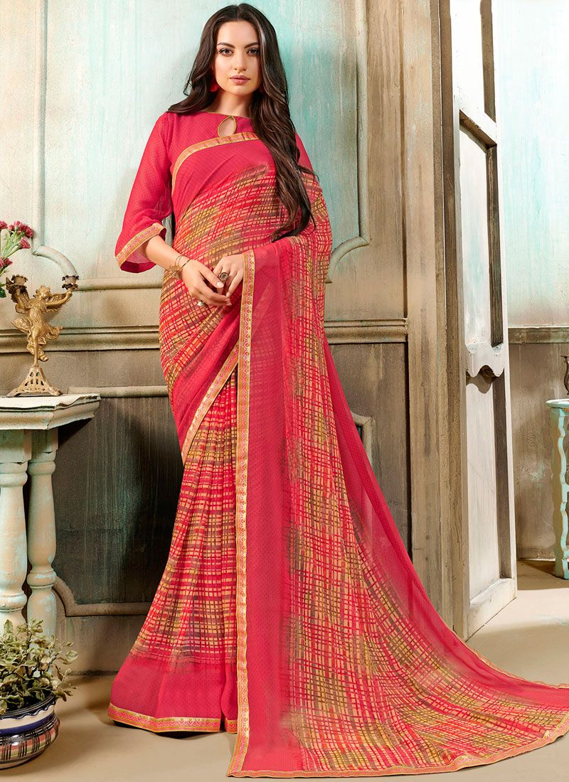 Pink Printed Faux Georgette Casual Saree