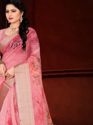 Pink Printed Festival Traditional Saree