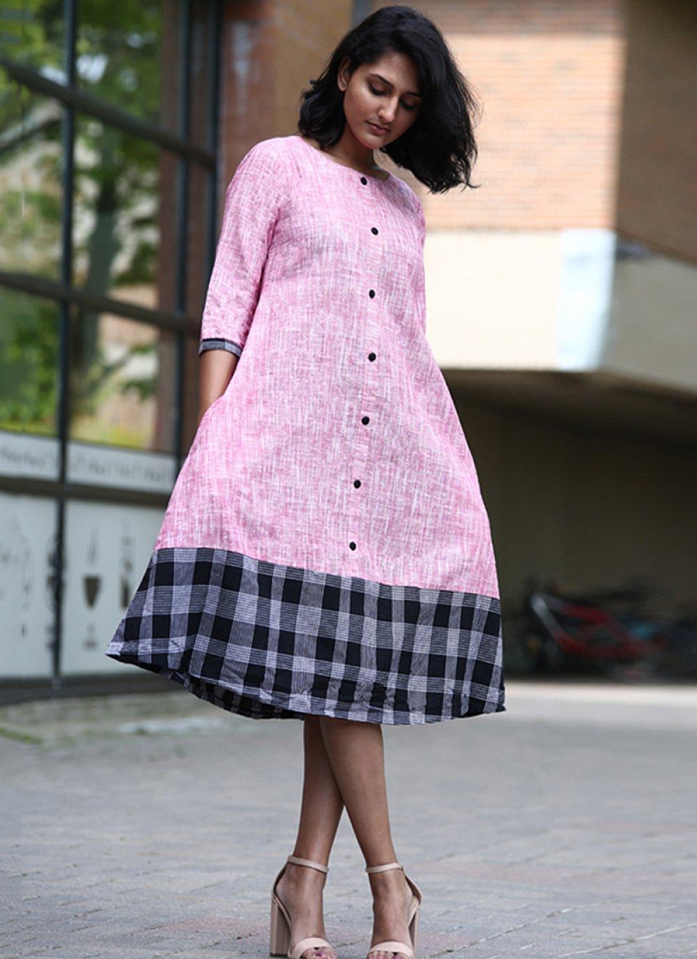 Pink Printed Party Wear Kurti