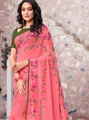 Pink Printed Trendy Saree
