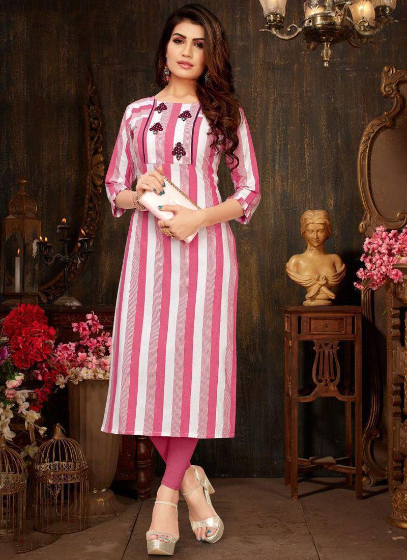 Pink Rayon Casual Kurti