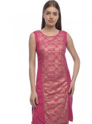 Pink Rayon Mehndi Designer Kurti