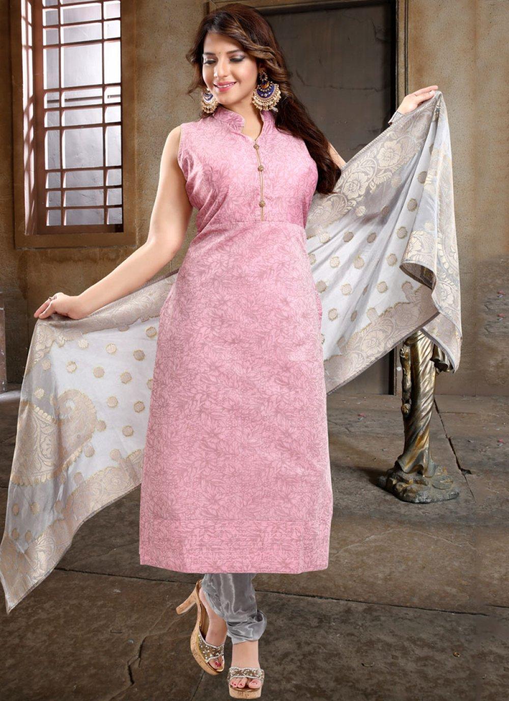 Pink Reception Churidar Designer Suit