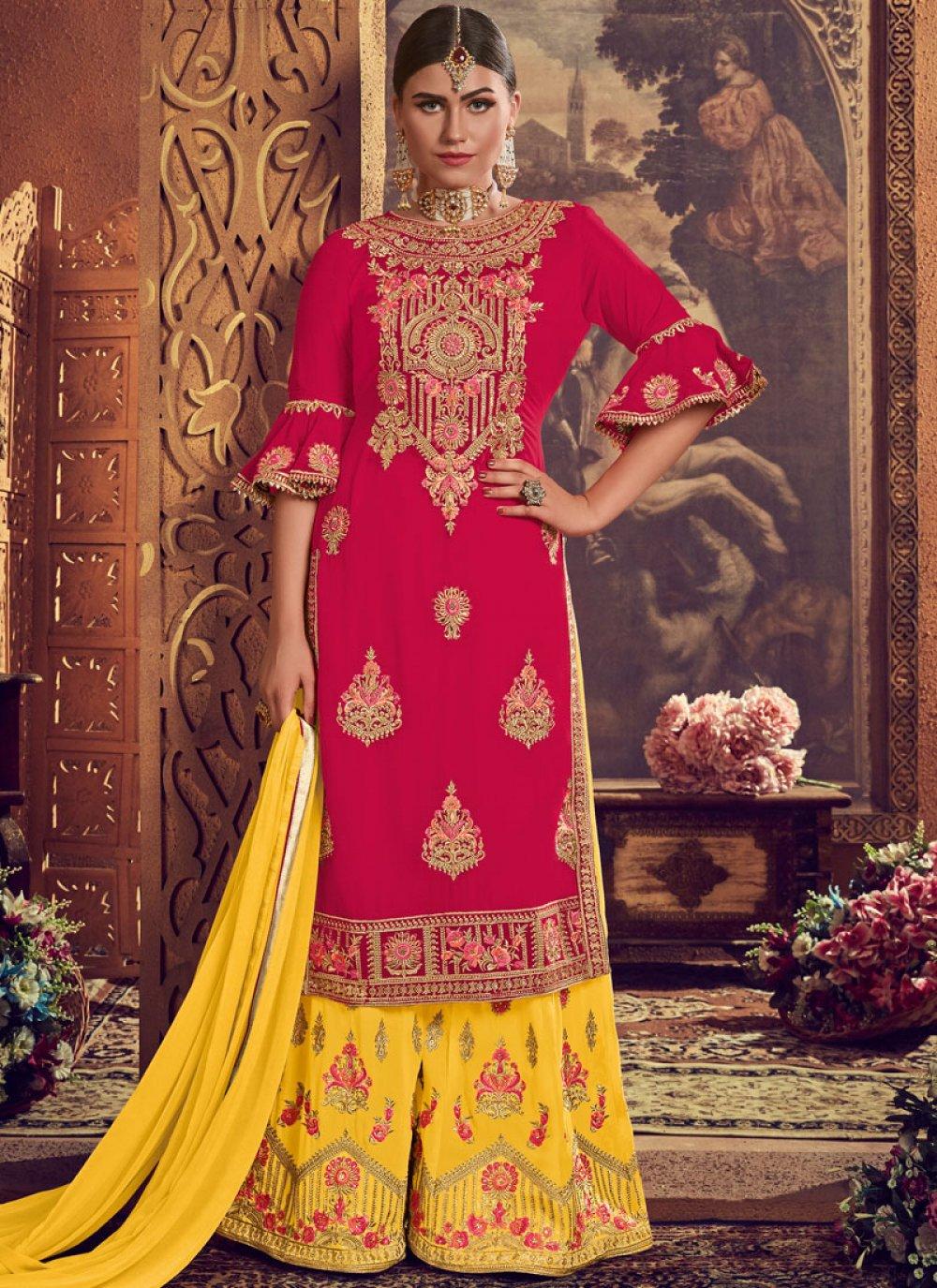 Pink Reception Faux Georgette Palazzo Designer Suit