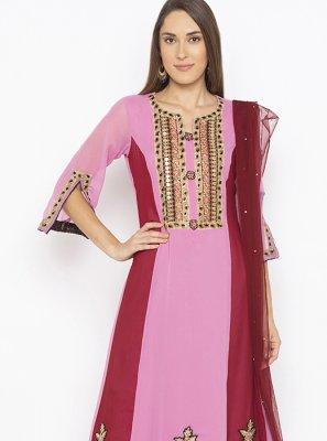 Pink Reception Georgette Designer Kurti