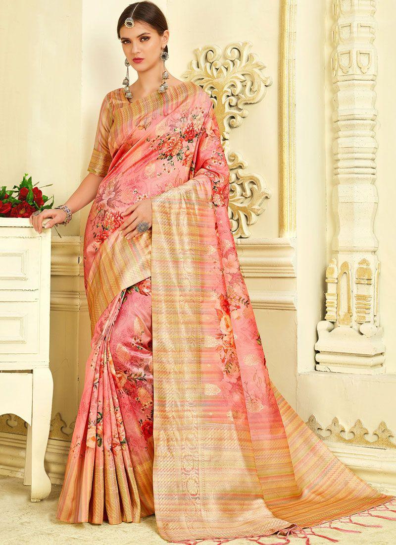 Pink Reception Silk Trendy Saree