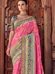 Pink Resham Designer Traditional Saree