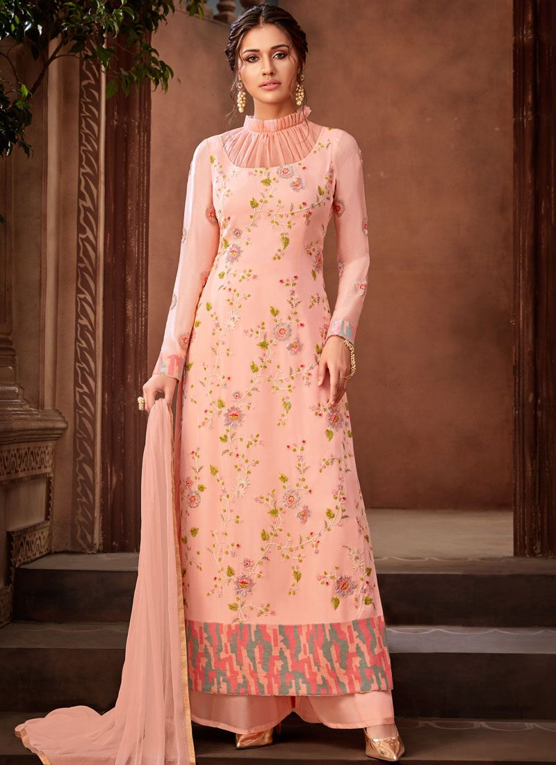 Pink Resham Faux Georgette Designer Pakistani Suit