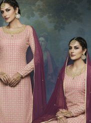 Pink Resham Faux Georgette Designer Palazzo Suit