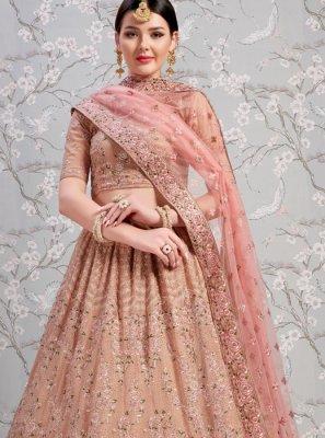 Pink Resham Faux Georgette Lehenga Choli