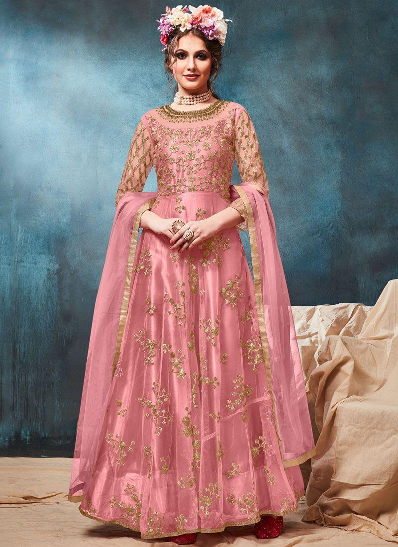 Pink Resham Festival Floor Length Anarkali Suit