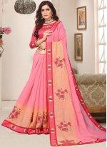 Pink Resham Festival Trendy Saree