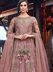 Pink Resham Floor Length Anarkali Suit